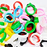 10pcs Silicone Anti-Lost Adjustable Rings Band Holder for Pens Device, Random Color (20mm)