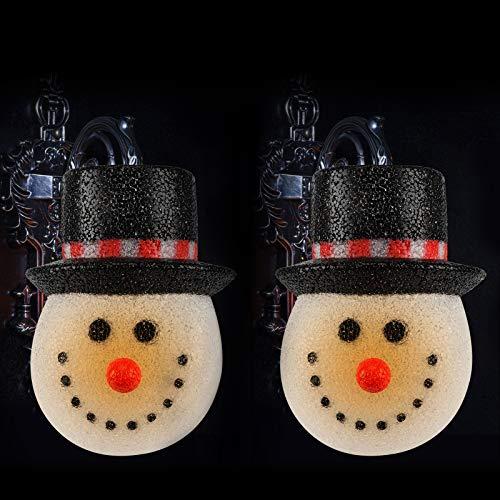 Aobp 2 piezas de Navidad muñeco de nieve porche luces cubiertas de nieve invierno estándar porche luz decoración para porche estándar decoración
