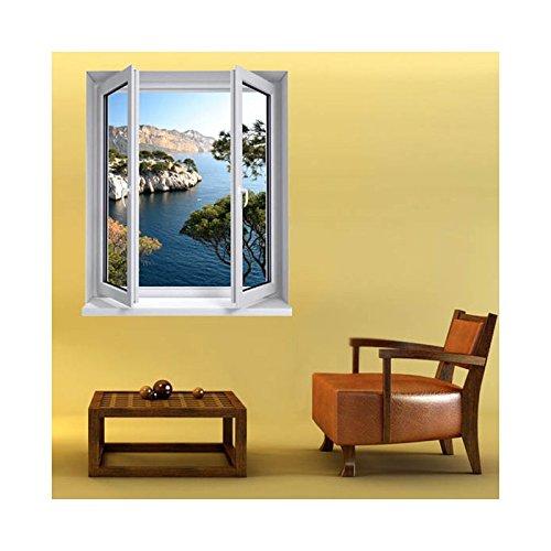 Stickers trompe l'oeil fenêtre Les calanques - L 84cm x H 100cm
