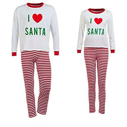 Snakell Weihnachten Pyjama, Familie Nachtwäsche Set, Weihnachtsbrief Gestreiftes T-Shirt, Familie Passende Pyjamas Outfits Set Sleepwear Set Nachtwäsche Outfits Für Junge Mädchen Baby Homewear