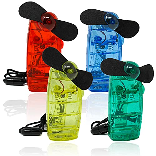 Selldorado® 4X Ventilator zum Umhängen - Hand Ventilator, Reiseventilator - Handventilator Kinder - Ventilator Kinder (Blau, Gelb, Rot, Grün)
