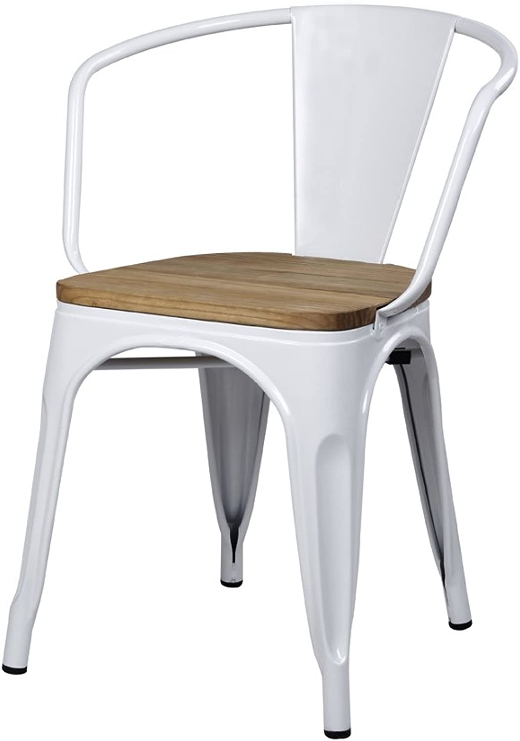 GIA AY55C-WH_Wood_1 Metal Dining Chair with Wooden seat, 1-Pack, White