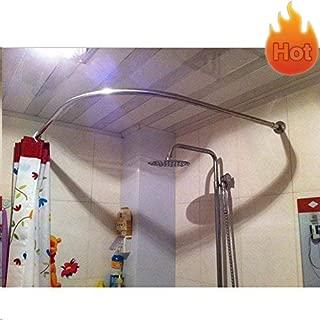 Sikaiqi Stretchable 304 Stainless L Shaped Bathroom Bathtub Corner Shower Curtain Rod Rack (35.43
