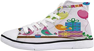 Birthday Decorations for Kids Stylish High Top Canvas Shoes,Owls Sitting on a Branch with Balloons on Abstract Backdrop for Men & Boys,US 6.5