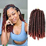 1 Pack Spring Twist Crochet Hair 8 inch Short Bomb Twist Braiding Hair Fluffy Spring Twists Crochet Braids 15 Strands/pack Two-Tone Colors Curly Synthetic Hair Extensions(8',T350)