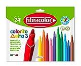 Fibracolor Delta - Lote de 24 rotuladores triangulares, punta fina de 3 mm, superlavables