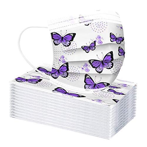 10/20/30/40/50/100 Piezas Niños Bufanda 𝐌ask_Mascarillas Patrón de estampado de mariposa morado para la protección personal de los niños de los estudiantes de la escuela
