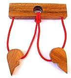 Logica Giochi Art. Prueba De Amor - Puzzle Inteligente de Cuerdas - Dificultad 4/6 Extrema - Rompecabezas de Madera - Colección Leonardo da Vinci