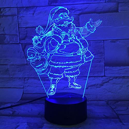WZYMNYD 7 Couleurs 3D LED NightLight Père Noël Lampe de Table de Vacances De Décoration de Noël Chiffres USB Lamparas Luminaire Pour Enfants Cadeaux De Noël