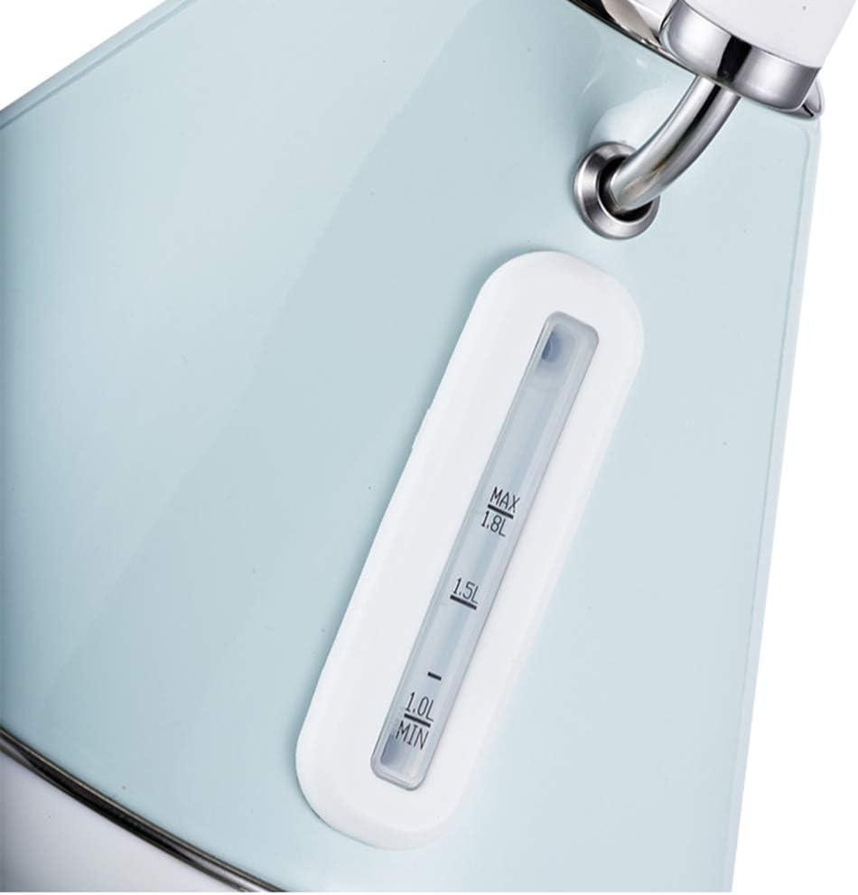 HLJ Bouilloire électrique en acier inoxydable revêtement anti-fondu avec le dos en acier inoxydable avec filtre réutilisable arrêt automatique et (Color : Beige) Pearl Blue