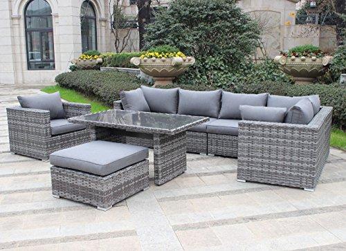 Pure Home & Garden Hohe Dining Poly Rattan Lounge Comfort XL, inklusive Sessel und XL Hocker, mit wasserabweisenden Kissen, flexibel einsetzbar