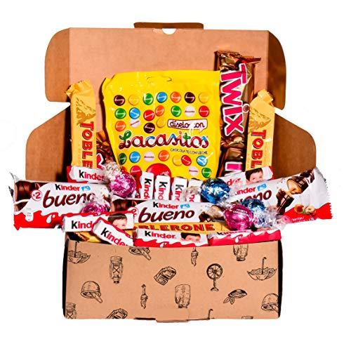Caja regalo de bombones y chocolates - Kinder Bueno, Lacasitos, Toblerone, Lindt, Twix, Kinder...