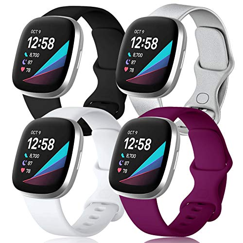 Maledan Compatible with Fitbit Sense and Fitbit Versa 3 Bands for Men and Women, 4 Pack Soft Sport Wristband Accessories for Versa 3/Sense Smart Watch, Large Black/Sliver/Fuchsia/White