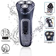 Aaronano Men's Rechargeable Electric Shaver Razor - Hair Trimmer - Wet and Dry Operation - Mustache, Sideburns and Beard - Gentle on Skin