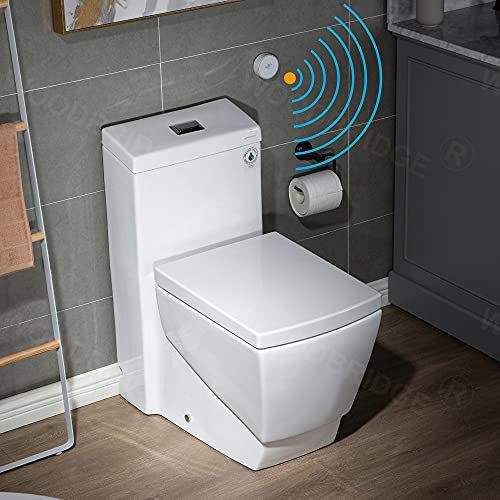 WOODBRIDGE B-0920-A Touchless, Dual Flush Elongated One Piece Toilet with Soft Closing Seat,Comfort Height,Water Sense,High-Efficiency, Rectangle Button, White