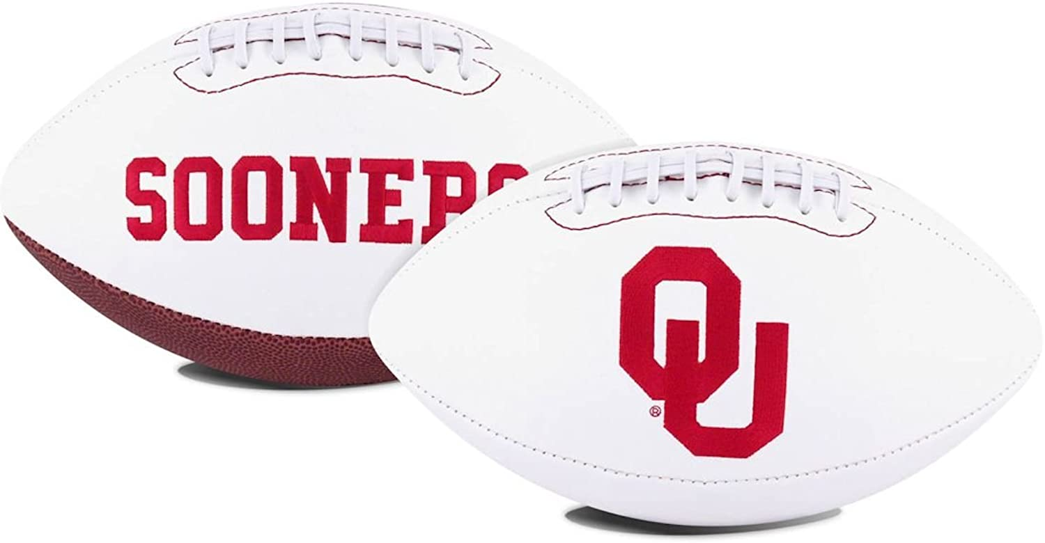 Jarden 1 Pc, Oklahoma Sooners Football Full Size Embroidered Signature Series, with School Logo Embroidered Front, for Collectible Piece & Autographs