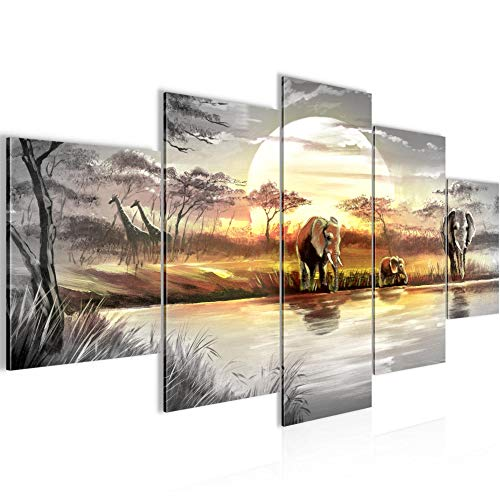Runa Art - Bilder Afrika Elefant 200 x 100 cm 5 Teilig XXL Wanddekoration Design Grau Gelb 000751a