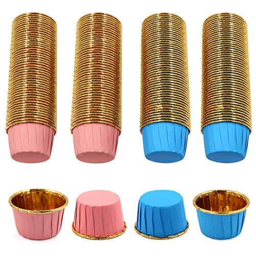 Muffin-Cupcake-Förmchen Aluminium-Folien Backförmchen Papierbackförmchen Papierbackförmchen für Dessert Hochzeit Geburtstag Party, Durchmesser 5 cm (200 Stück), Blau+Weiß