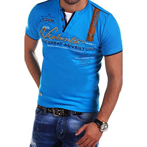 Jersey Informal de Moda para Hombre, Camiseta de Manga Corta Ajustada con Estampado de Letras con Cuello en V, decoracin de Botones de Costura XXL