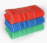 UNITED COLORS OF BENETTON. Set 3pcs paños Cocina 50x70cm 420gsm 100% algodón (Verde+Azul+Rojo) Casa Benetton, Multicolor, 50x70