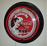 Neon reloj Neon Clock–Pinup Refreshing Coca Cola iluminación Neon Rojo–Con marco negro. Reloj De Pared.