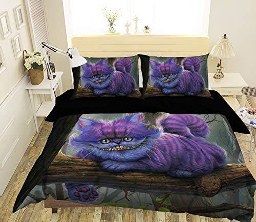 3D Cheshire Cat 0022 Game Bedding Pillowcases Quilt Duvet Cover Set Single Queen King   3D Photo Bedding, AJ US Vincent Muzi (Twin)