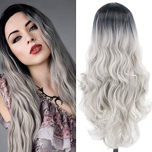 Chtom Peluca larga de color gris degradado con raíces oscuras de aspecto natural, peluca de fibra sintética para cosplay (color: gris)