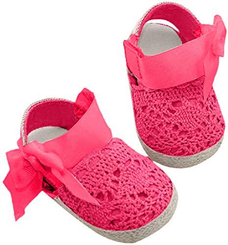 Bebé Prewalker Zapatos Auxma Primeros Pasos para bebé-niñas,Zapatos de Flores de Encaje,Sandalias de Bowknot para 0-6 6-12 12-18 Meses (0-6 M, Rosa Caliente)