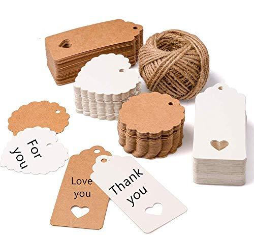 200 piezas Etiquetas regalo etiquetas papel kraft de regalo de bricolaje,Etiquetas de Kraft,cuerda de cáñamo de 30m, utilizadas para bodas, cumpleaños y Navidad