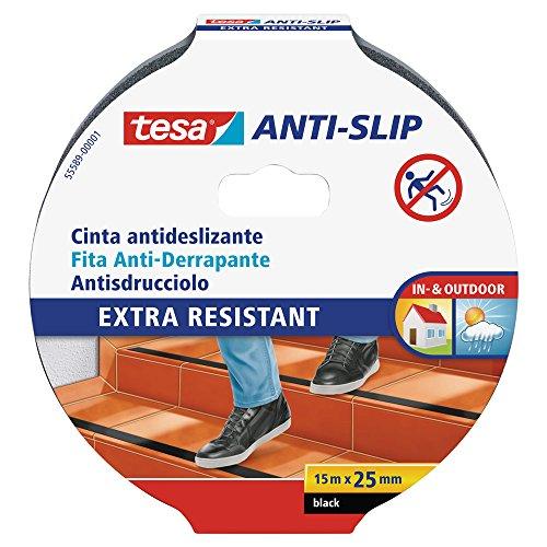 TESA 55589-00001-00 Cinta Antideslizante 15m x 25mm, Negro/Standard, 15 m x 25 mm
