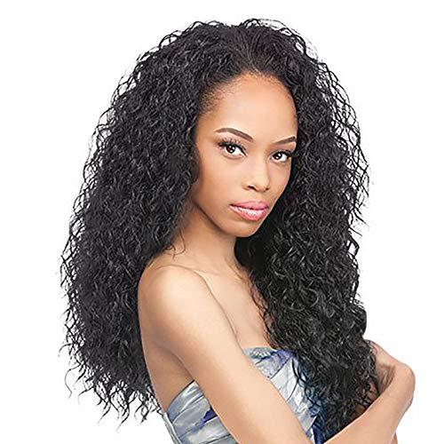 AMUSTER Afro Lockige Perücke Synthetische Perücke Lockiges Haar Cosplay Perücken Echthaar Perücken für Schwarze Frauen Natur Schwarz 50cm (50cm, Schwarz)