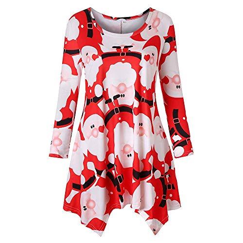Huixin Ladies Santa Claus Imprimé T Shirt Sweat Long Vêtements Femmes Hiver Longue Manches Chaud Pull Chaud Pull À Manches Longues Pull Hiver Loisir Streetwear Tops Tops (Color : Rot, Size : L)