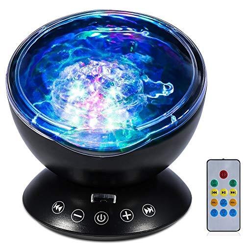 dgtrhted L-E-D Ocean Wave Night Light Projector mit 7 Farben Licht eingebaute Weiche Musik Schwarz