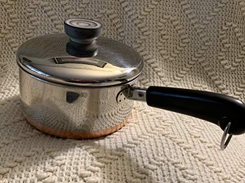 Vtg Revere Ware SS Copper Bottom 1qt Saucepan