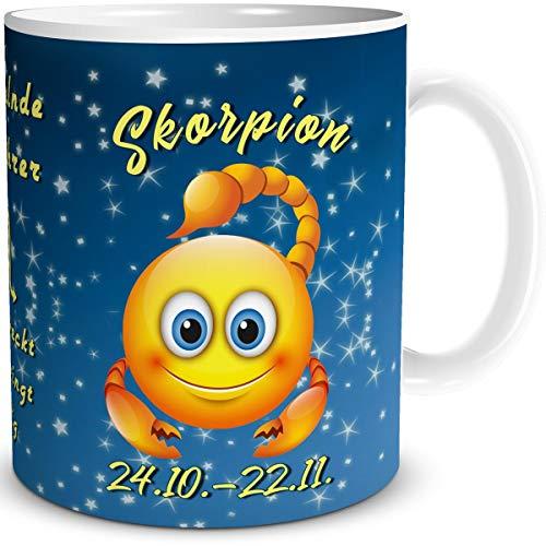 TRIOSK Tasse Smiley mit Spruch lustig Sternzeichen Skorpion Geburtstagstasse Geschenk für Frauen Männer Arbeit Büro Kollegen Geburtstag