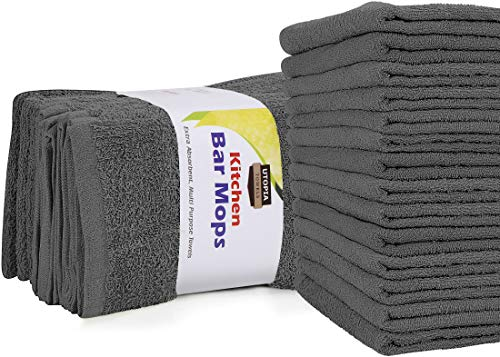 Utopia Towels Kitchen Bar Mops Towels Pack of 12 Towels - 16 x 19 Inches 100 Cotton Super Absorbent Grey Bar Towels Multi-Purpose Cleaning Towels for Home and Kitchen Bars