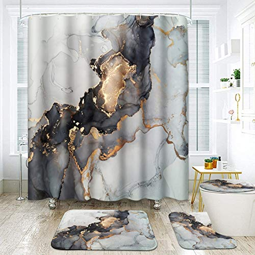 ArtSocket 4 Pcs Shower Curtain Set Marble Black Gold Ombre Luxury Abstract Fluid Vintage with Non-Slip Rugs Toilet Lid Cover and Bath Mat Bathroom Decor Set 72' x 72'