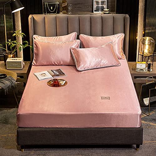 CYYyang Unterbett Soft-Matratzen-Topper, Matratzenschutz Boxspring-Betten geeignet Bettlaken Pure Color-Bean Paste_1.2m