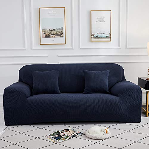 Sinoeem Fundas de Sofá de 1 2 3 4 Plazas (Gratis 2 Fundas de Almohada) Fundas de Sofa Antideslizante Cubierta Forros para Sofas Anti Arañazos Ajustable Protector para Sofá (Azul, 3 Plazas)