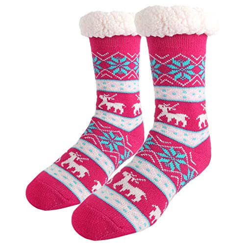 Womens Girls Funny Colorful Fleece-Lined Soft Cozy Heavy Fuzzy Fluffy Slipper Socks with Grippers,Rose Pink Reindeer