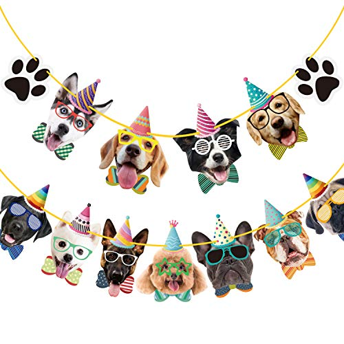 Duufin 15 Pieces Dog Faces Claws Party Banner Set Dogs Birthday Party Supplies Dog Portrait Banner Dog Theme Party Bunting Decoration