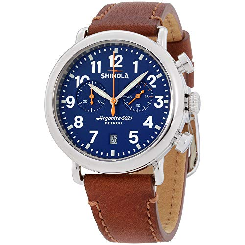 Shinola Runwell Herren-Armbanduhr mit braunem Lederband, 41 mm