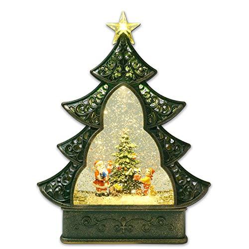 Kuda Moda Santa Claus Christmas Snow Globe, LED Star Light Christmas Tree Style, Battery Operated Swirling Glitter Water for Holiday Season Home Decor A (Large 11.5')