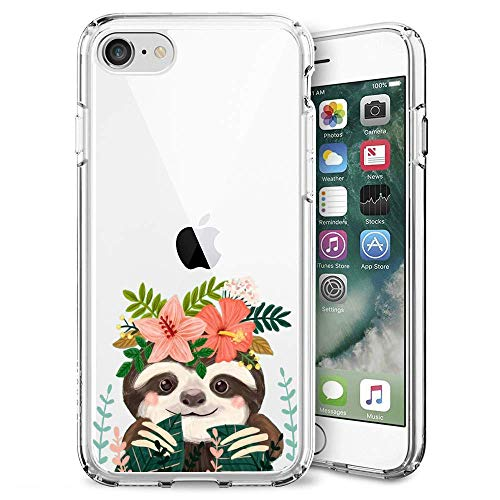 Case for iPhone SE 2nd Generation Cute Sloth Phone Case Clear TPU Protective Case (Cute Sloth)