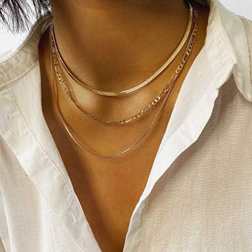 Jeairts Punk Layered Necklace Snake Bone Choker Necklaces Minimalist Necklace Chain Jewelry product image