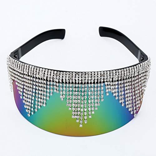 YIERJIU Gafas de Sol Gafas de Sol de Gran tamaño con Espejo de Diamantes de imitación Mujeres Hombres Gafas de Sol Grandes protección para los Ojos de Plata Gafas de Sol Famosas de Plata Sombras,C3