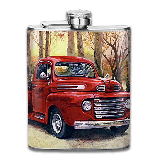 Presock Flachmann,Vintage Painting - Vintage Red Pick Up Truck Gifts Top Shelf Flasks Stainless Steel Flask 7 OZ for Men Women