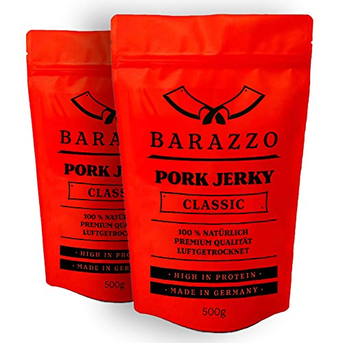 Barazzo Pork Jerky Classic | 1 kg (2x500g Maxibeutel) | 100{9f50e8019faaa1d62f3caf77a8504397459ddf9a9698e3171a3309203ba278d2} Premium Trockenfleisch Regional | Beef Jerky/Biltong