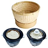 Exotic Elegance Sticky Rice Steamer Cooking Bamboo Basket for Insert in Rice Cooker (Basket Diameter 6.5').