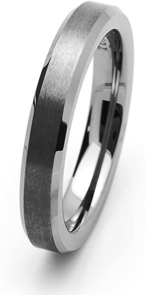 Double Accent 4MM Comfort Outstanding 2021 new Fit Band Tungsten Beve Wedding Carbide
